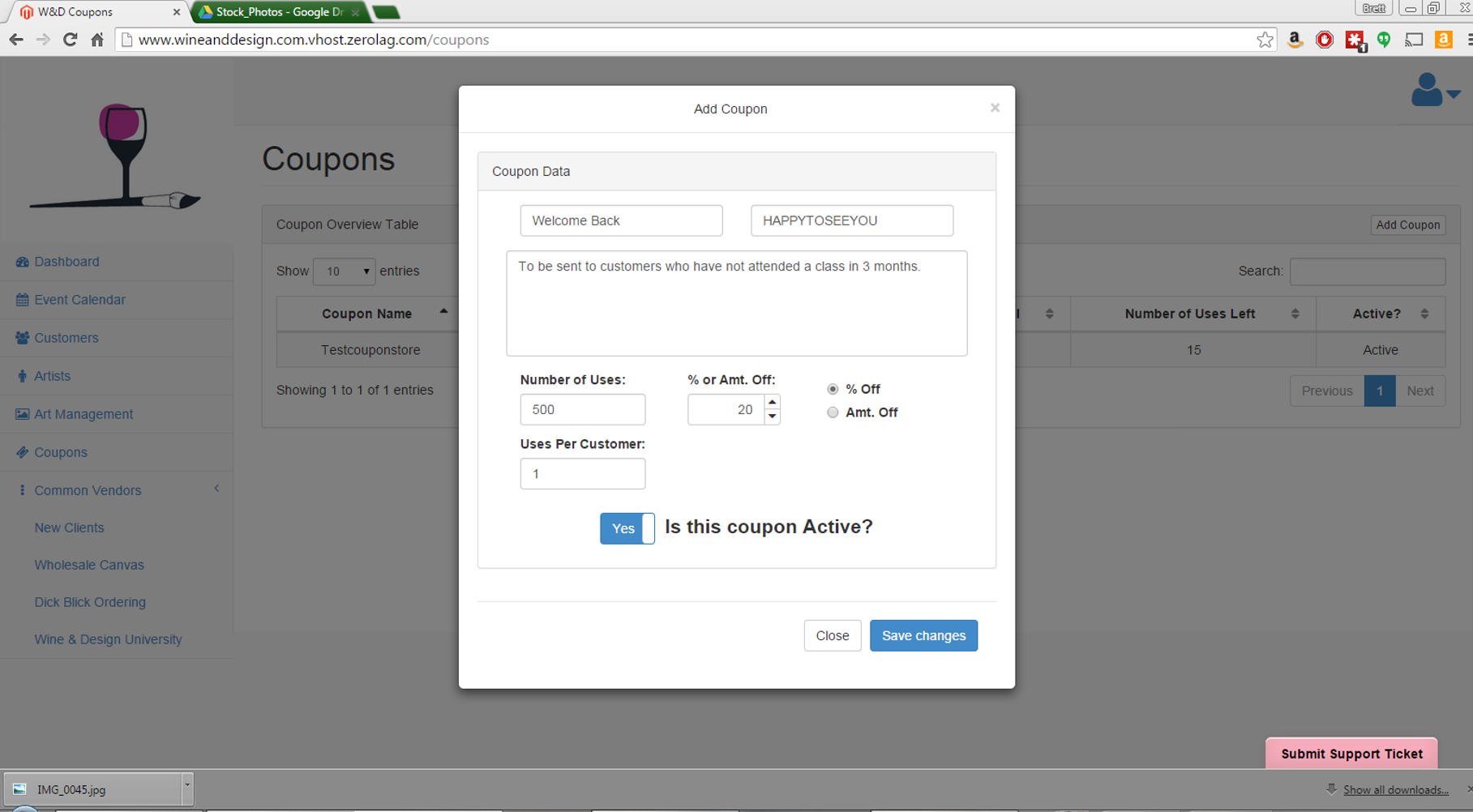 a typical coupon code creation. note that we limit to a single user per customer but we allow for many total uses.