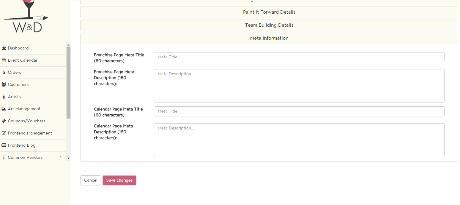 You can set your franchise's studio page and calendar page tags.