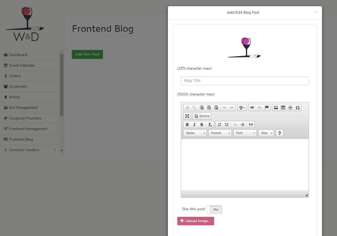 The basic blog editor screen.
