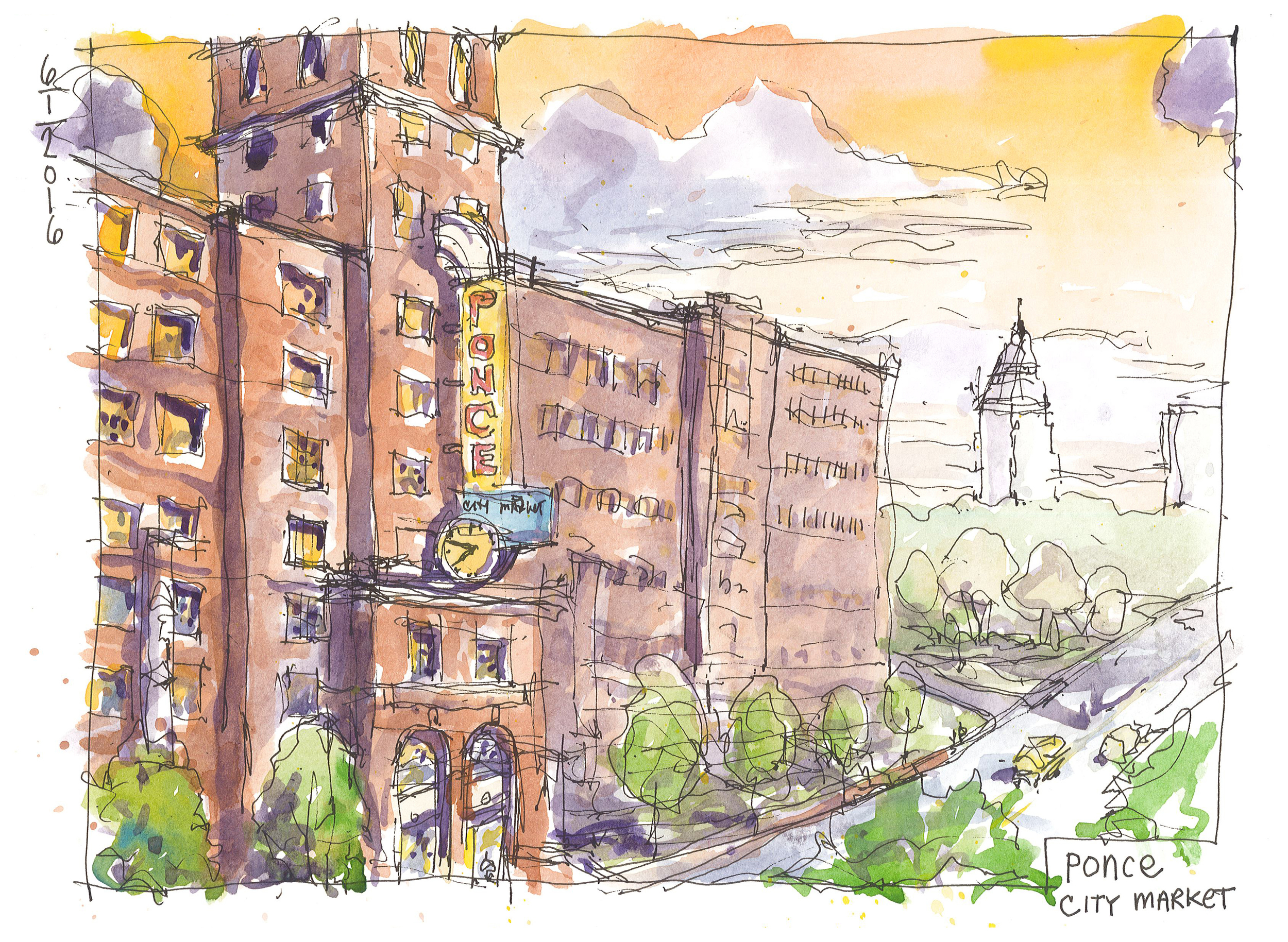 ATL early June sketchin'.... #PonceCityMarket