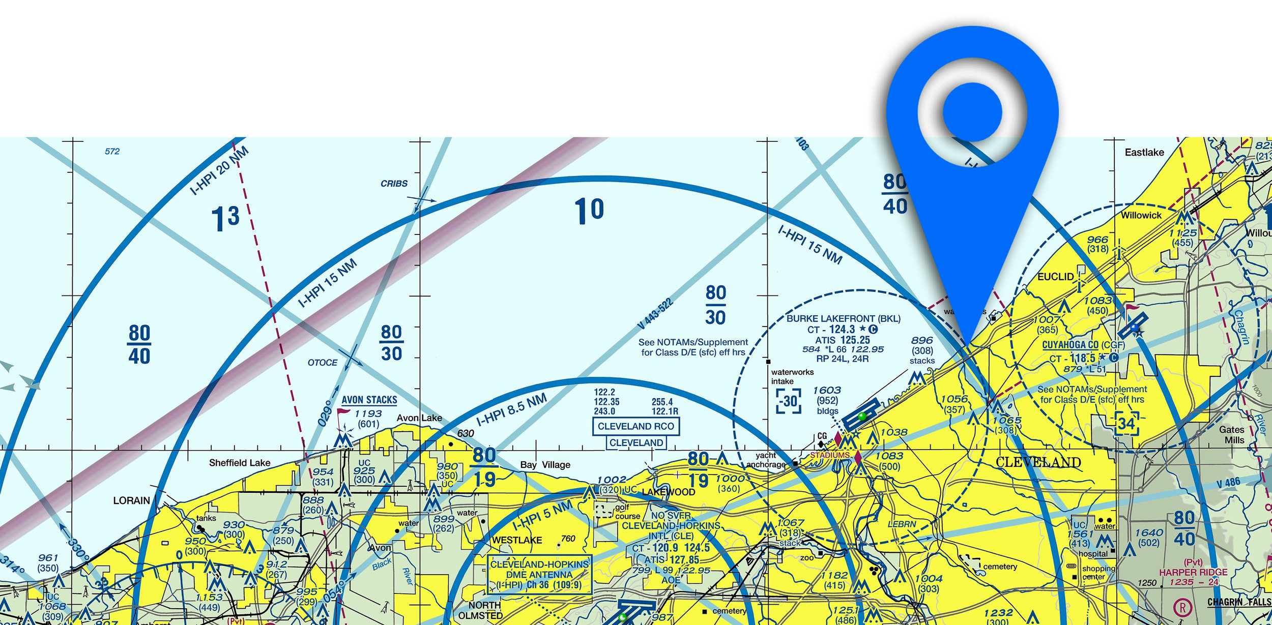 100% zoomed VFR sectional chart of CLE, with a pin at our shoot location.