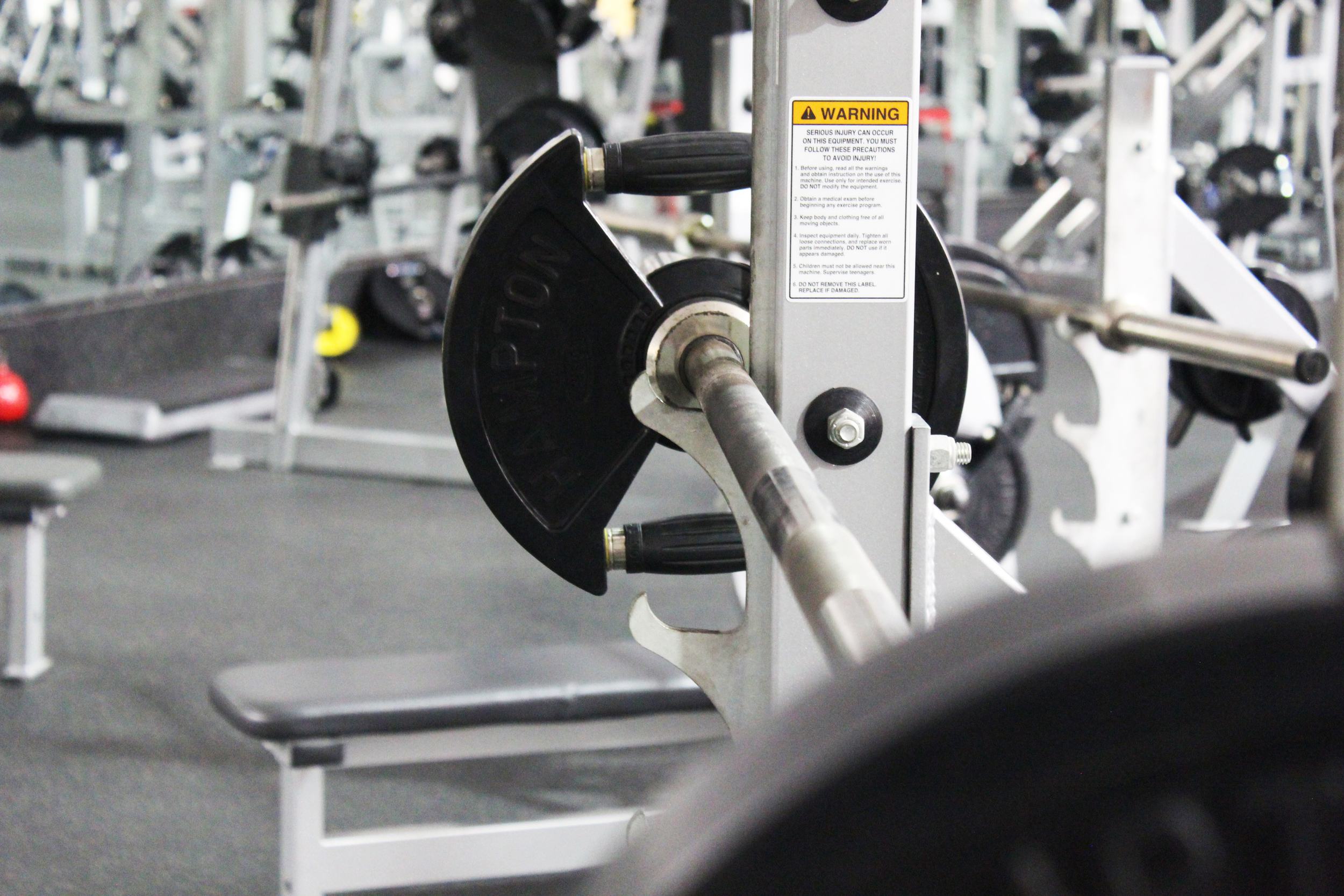 Weight Room  - featuring plates ranging from 2.5-100 lbs and Crossfit equipment