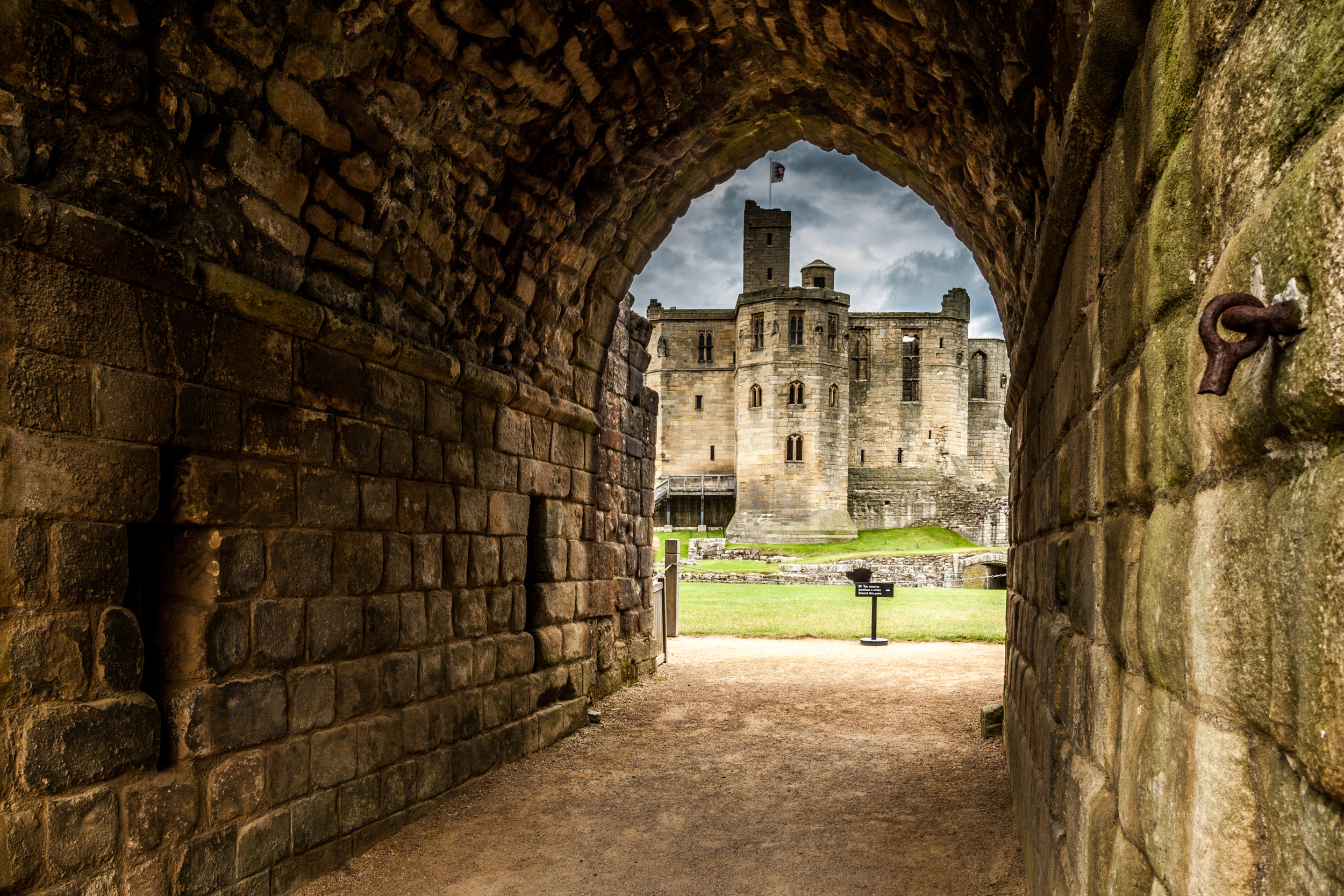 Medieval stone work and castle. England.