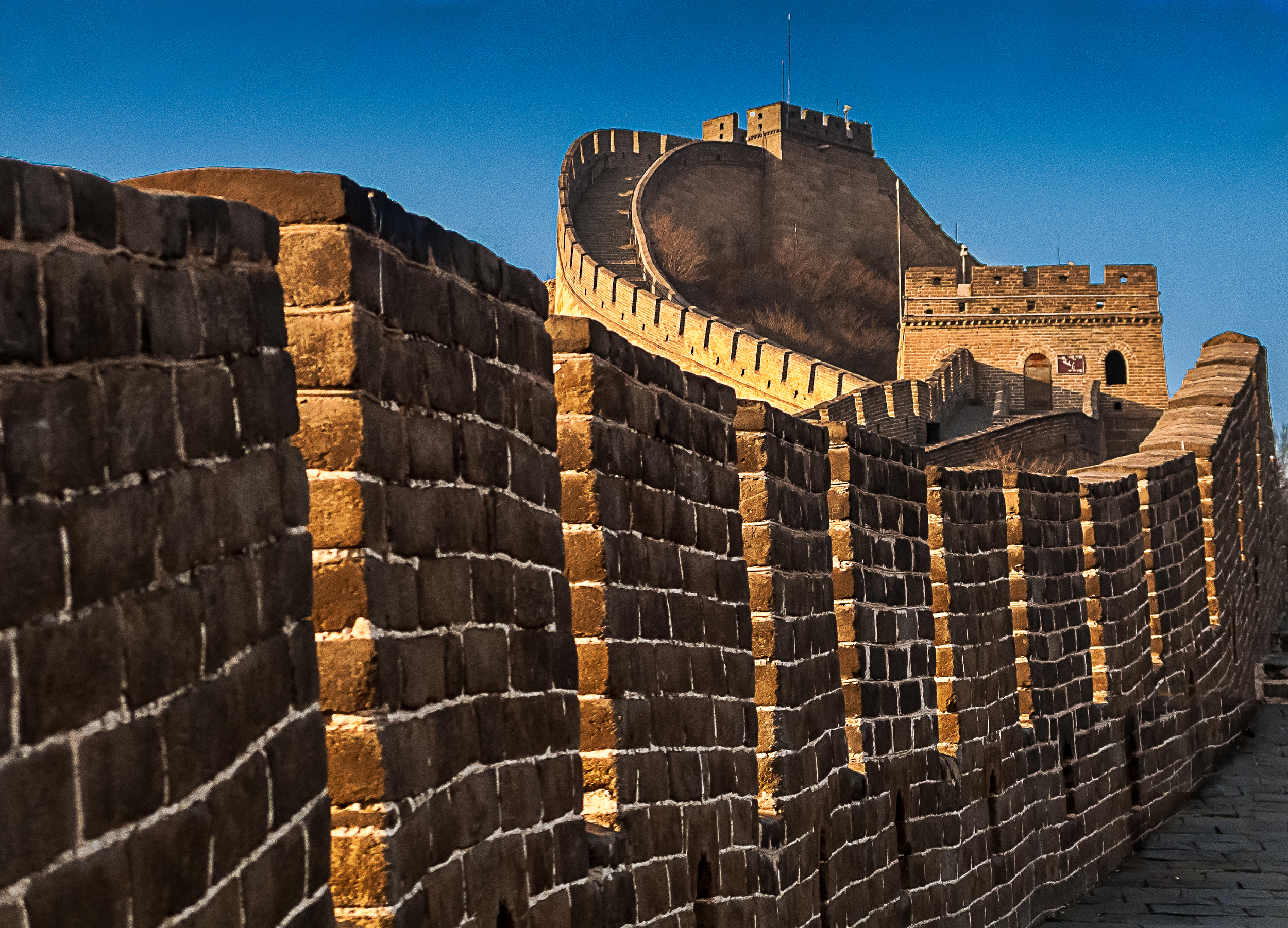 The Great Wall of China, one of the most incredible structures in the world. Plus sun!
