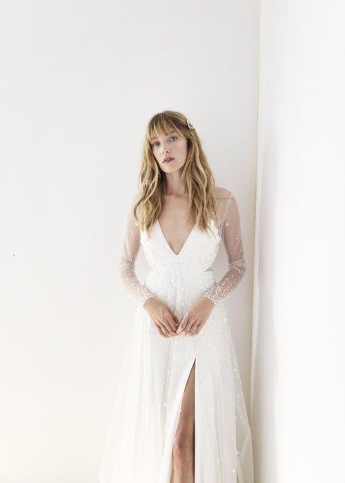 modern wedding dress slit