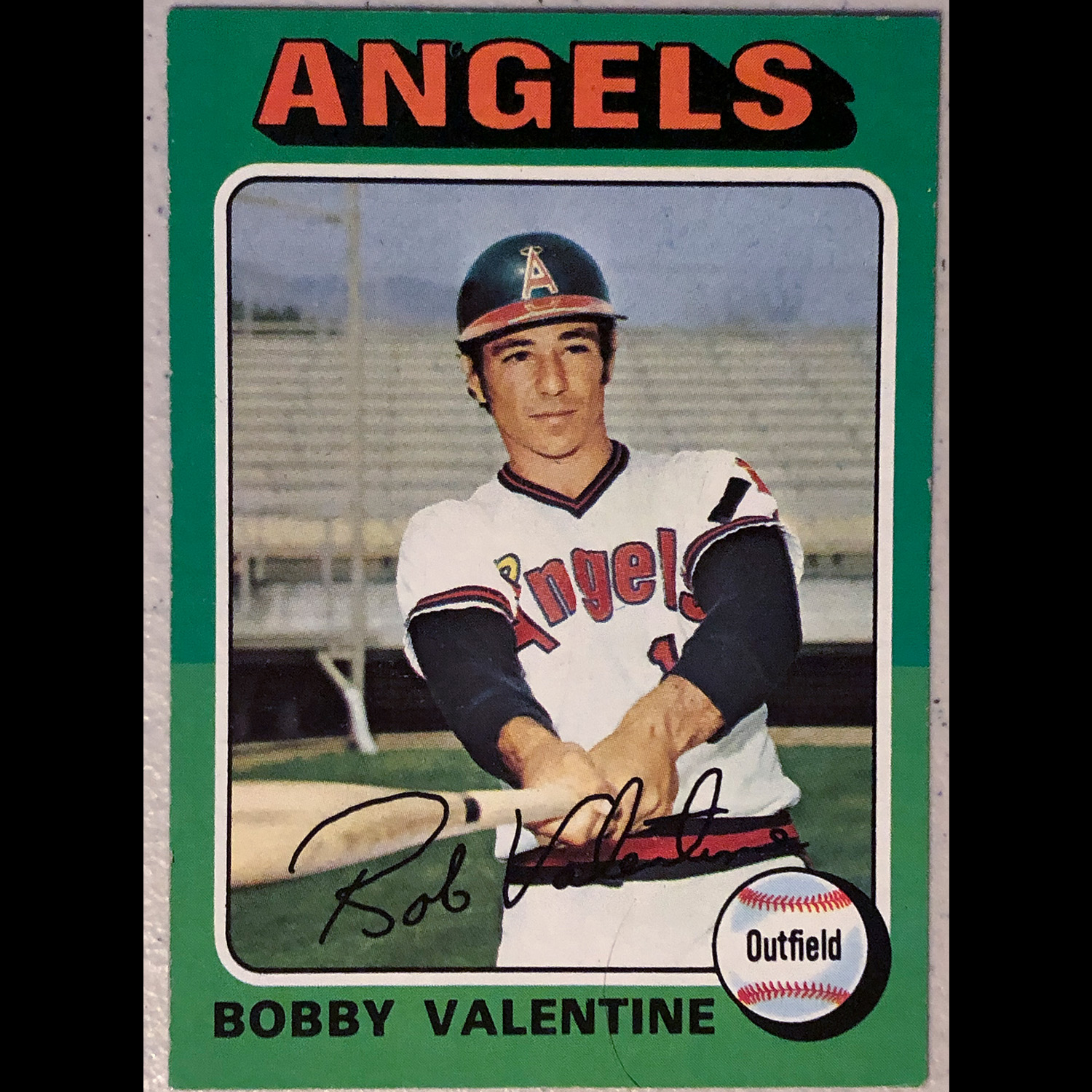 Bobby Valentine - No relation but someone I followed as a kid because of his name.  Pretty sure this photo is from Spring Training in Palm Springs, CA.  One thing I was always aware of was the stadiums where the portraits were take.
