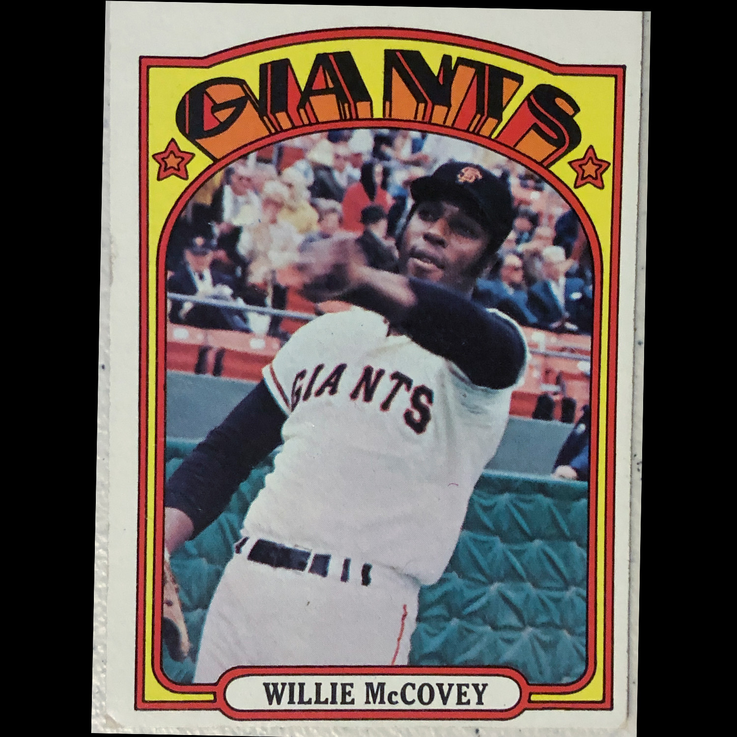 I saw Willie McCovey the last Giants game I went to in San Francisco.  Love the snapshot quality of this, slow shutter speed so his hand is blurred.  Just such a departure from the images on cards today.  This was kind of an action card but then he is just warming up.