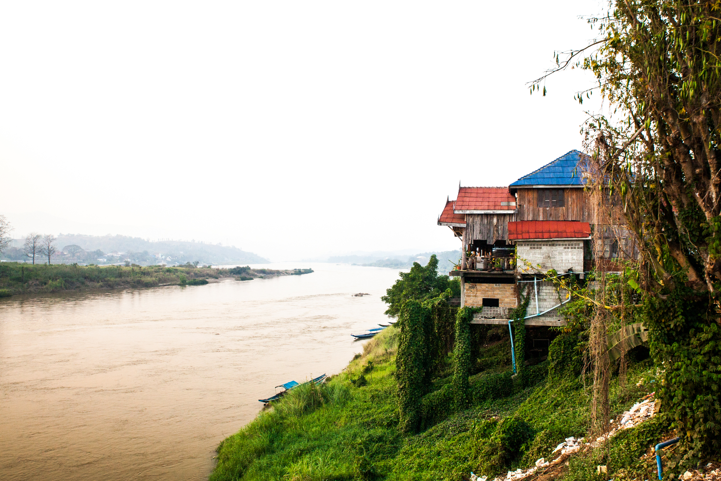 A view from the tavern, looking at a neighboring tavern.  Below is the Mekong river, the opposing bank is Thailand.