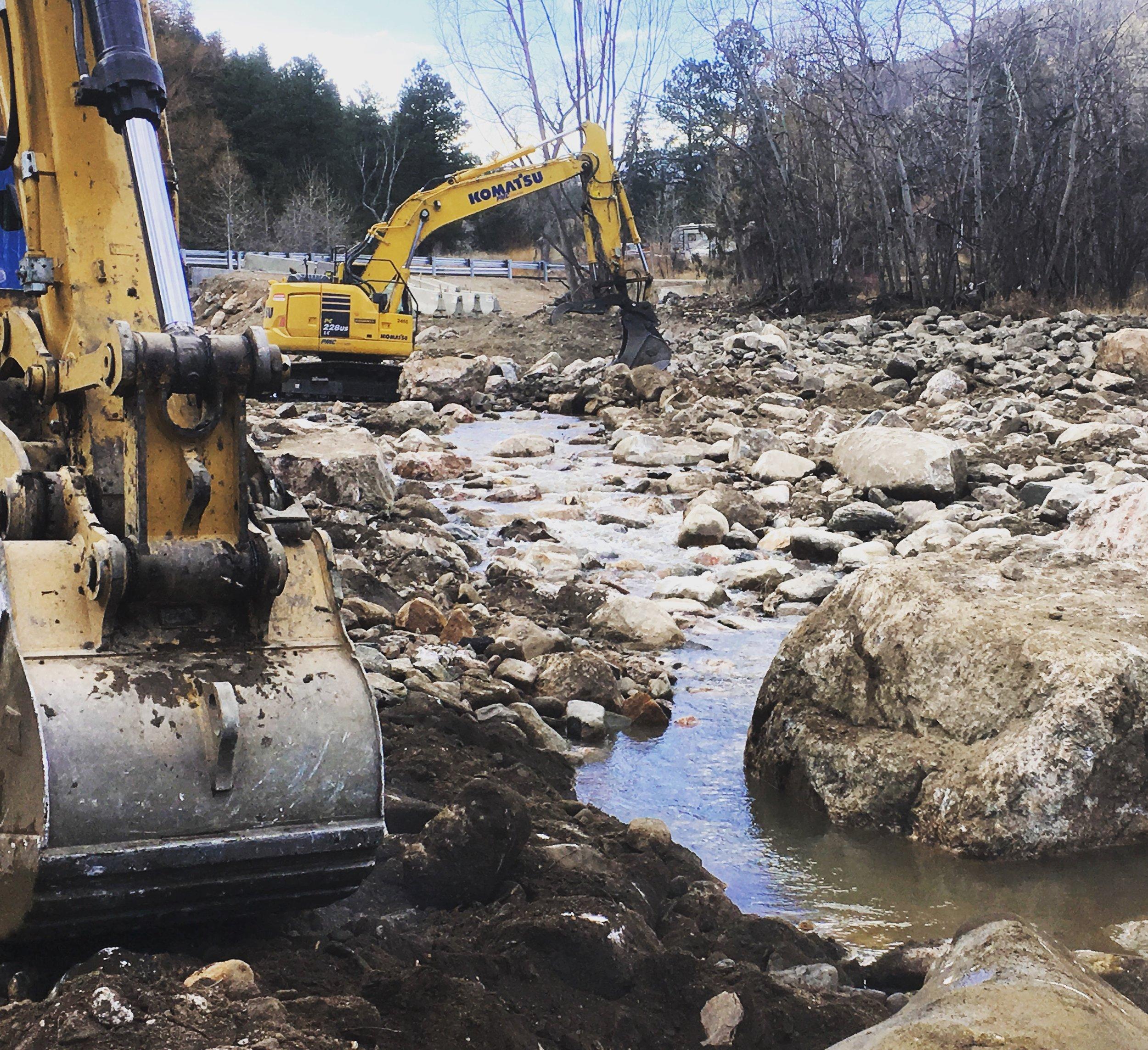 Construction near Storm Mountain Bridge, February 2017.