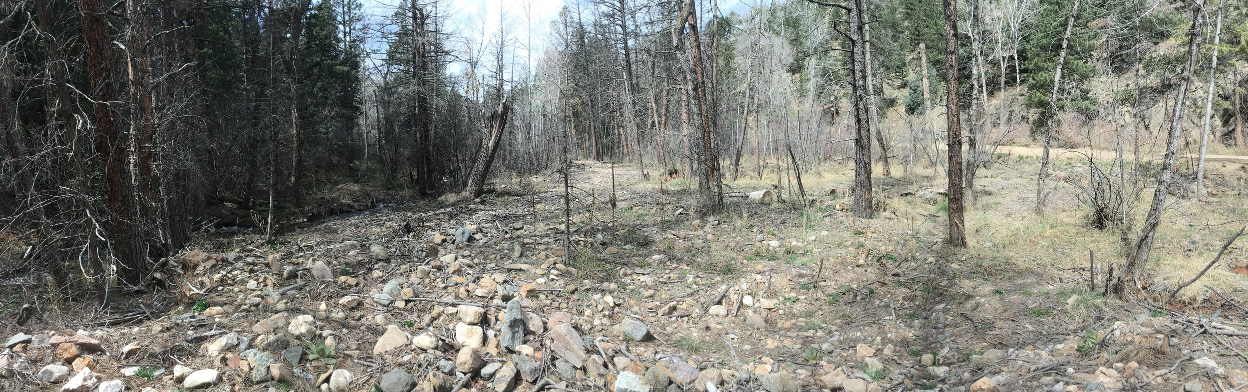 Before Construction: The former creek corridor filled and covered with flood deposits. Sediment from several debris flows was deposited in this reach, filling in the creek channel and causing an avulsion; the creek is in the shadows on the far left of the photo (April 2017).