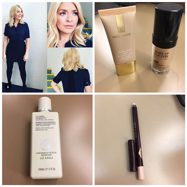 Liz Earle / Eyebright for waking up the eye area and a great prep before make up application        Foundations/ mixed together     Make Up Forever HD shade N140     Estée Lauder /  double wear light shade intensity 4.0       Under eye (inside) Kohl / Charlotte Tilbury / Rock n Kohl/ Cream amazing for making the eyes pop !       Giorgio Armani cheek fabric / skin shade