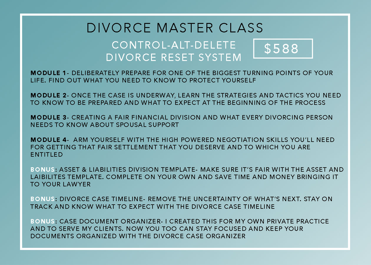 Divorce Masterclasses and Resources — Rebecca Zung | Divorce