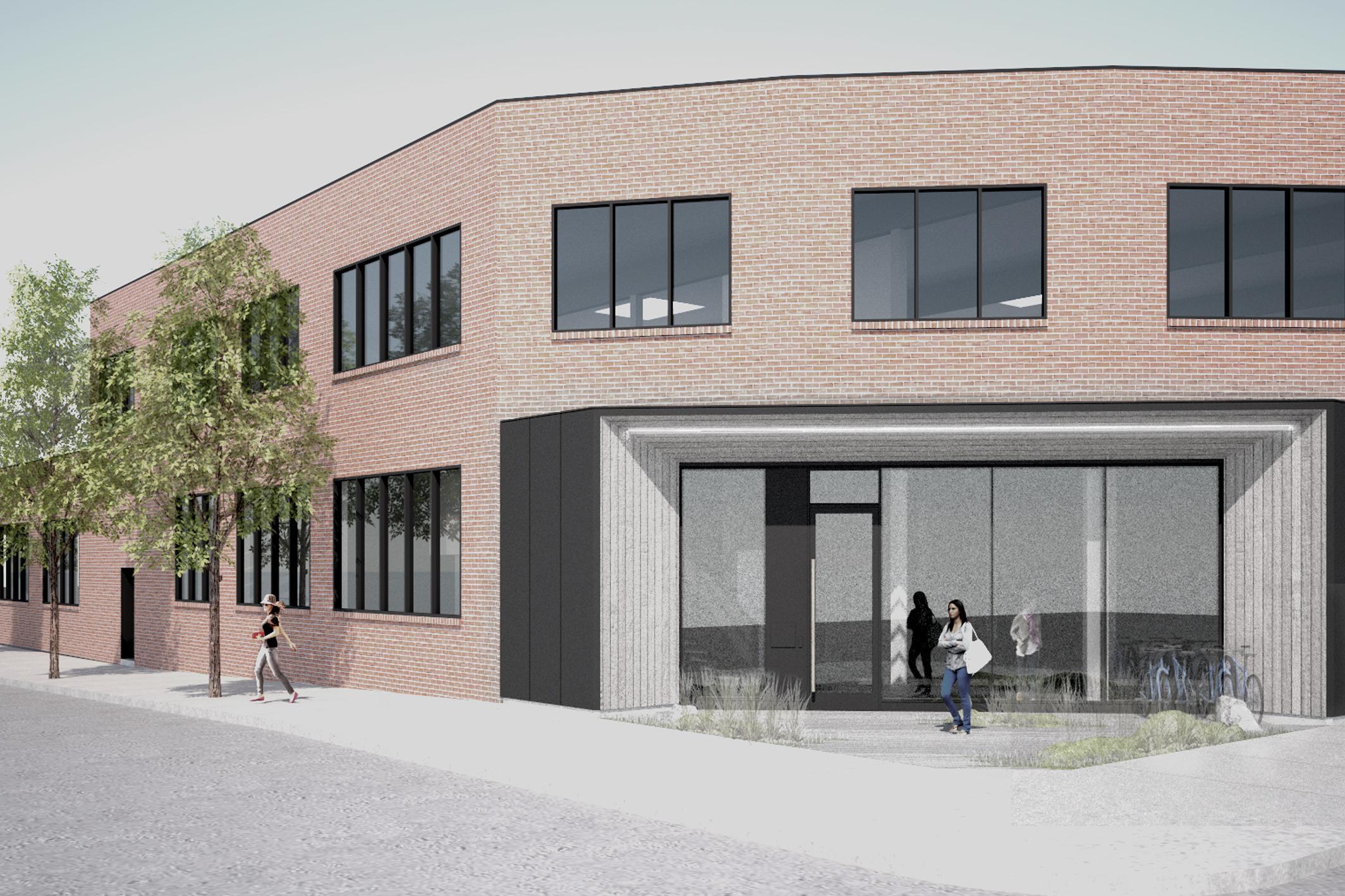 rendering, pettygrove brick office building storefront, large entry door
