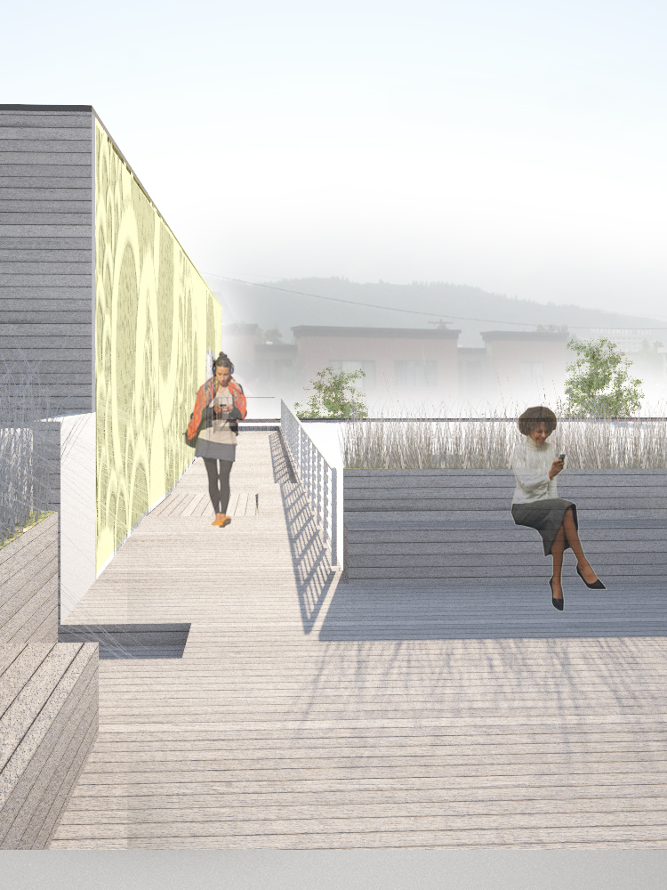 roof top rendering, wooden floor, wooden wall