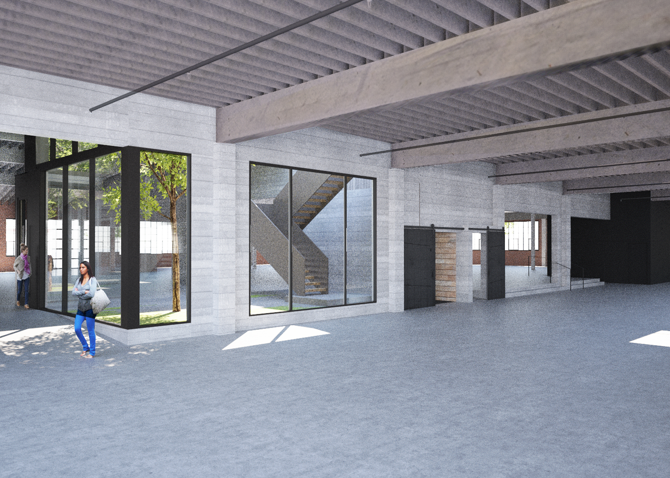 rendering, empty large space office interior