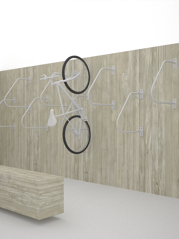 rendering, bike rack on wooden wall