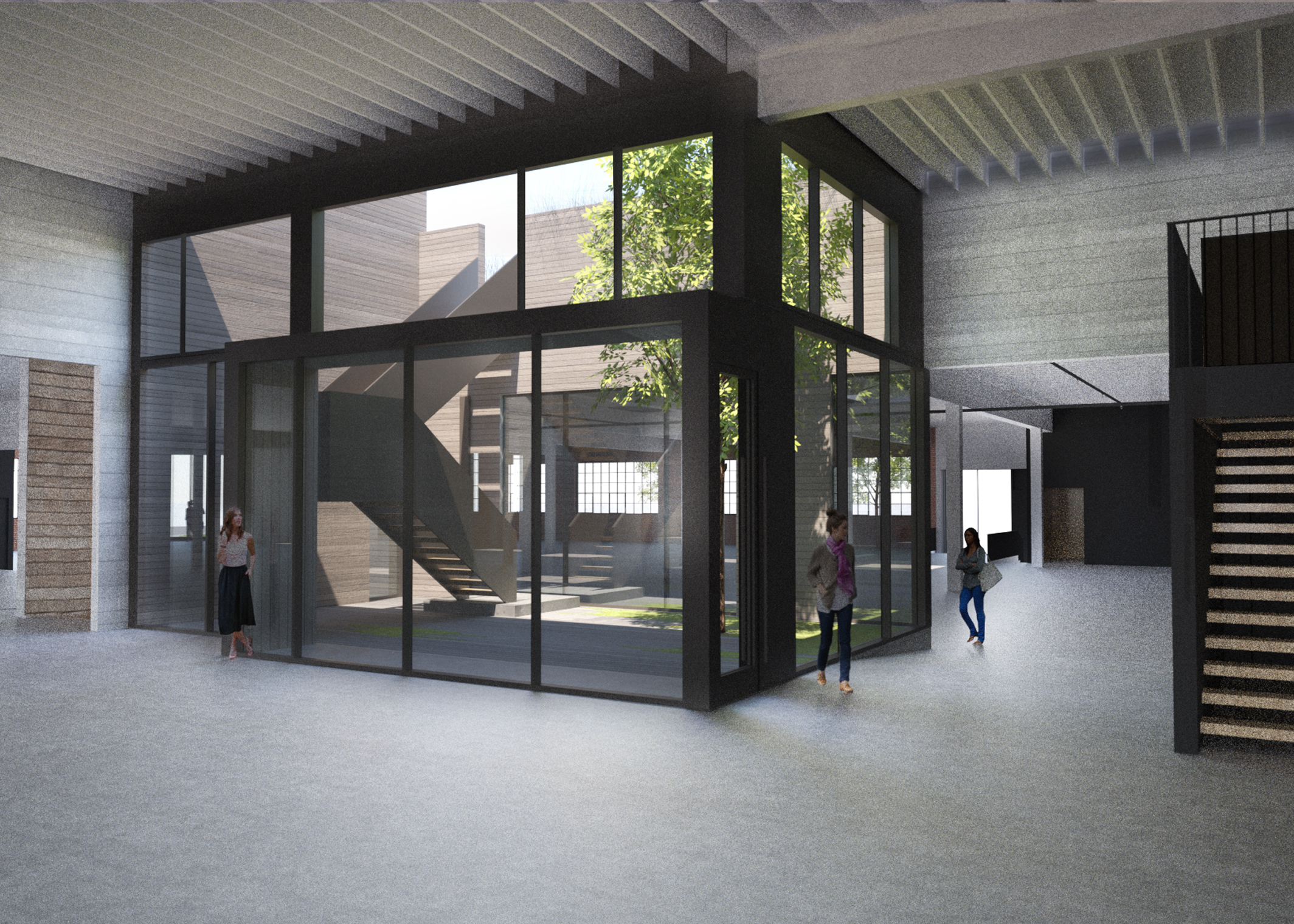 rendering, inner courtyard of office building with tree and stairs to roof top