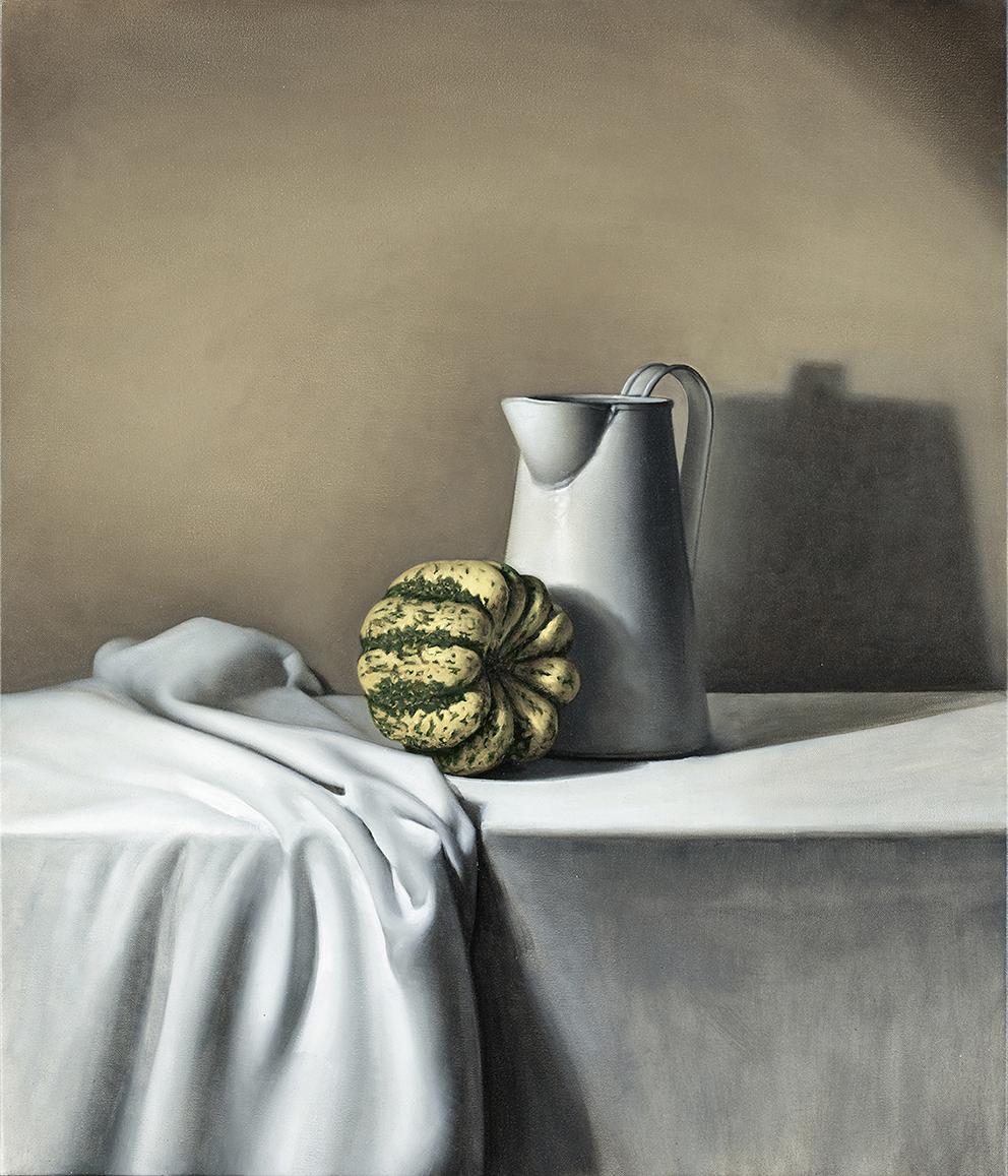 jug and pumpkin  2012  oil on canvas  75 x 65 cm