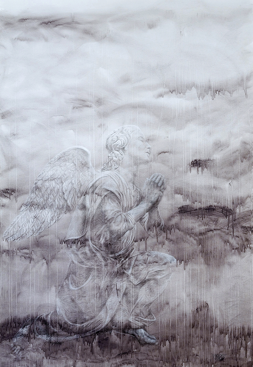 oracion 2012  charcoal & pastel on washed paper  150 x 220 cm