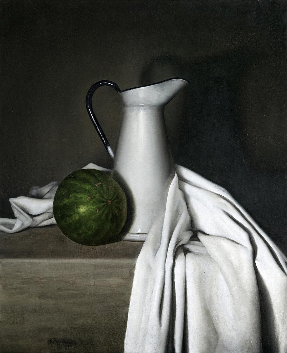 pitcher & melon  2014  oil on canvas  65 x 75 cm