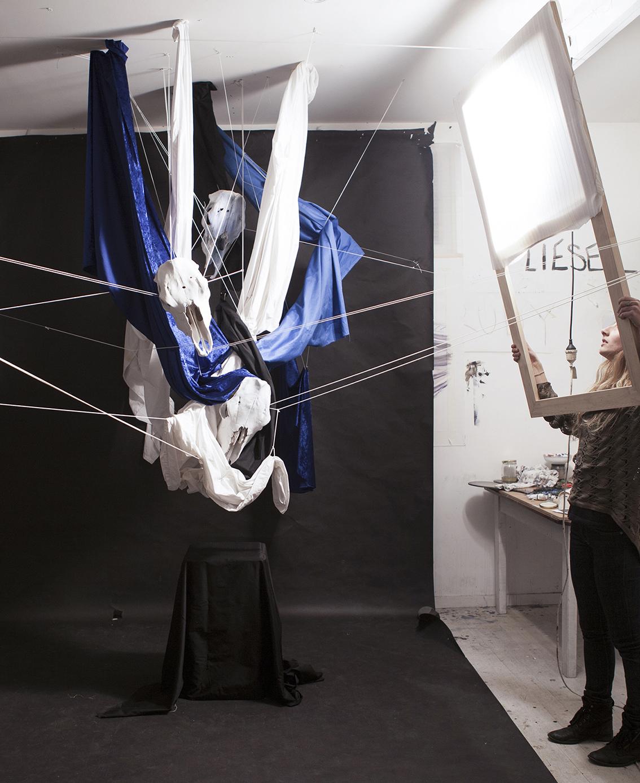 studio image: black&blue installation set up