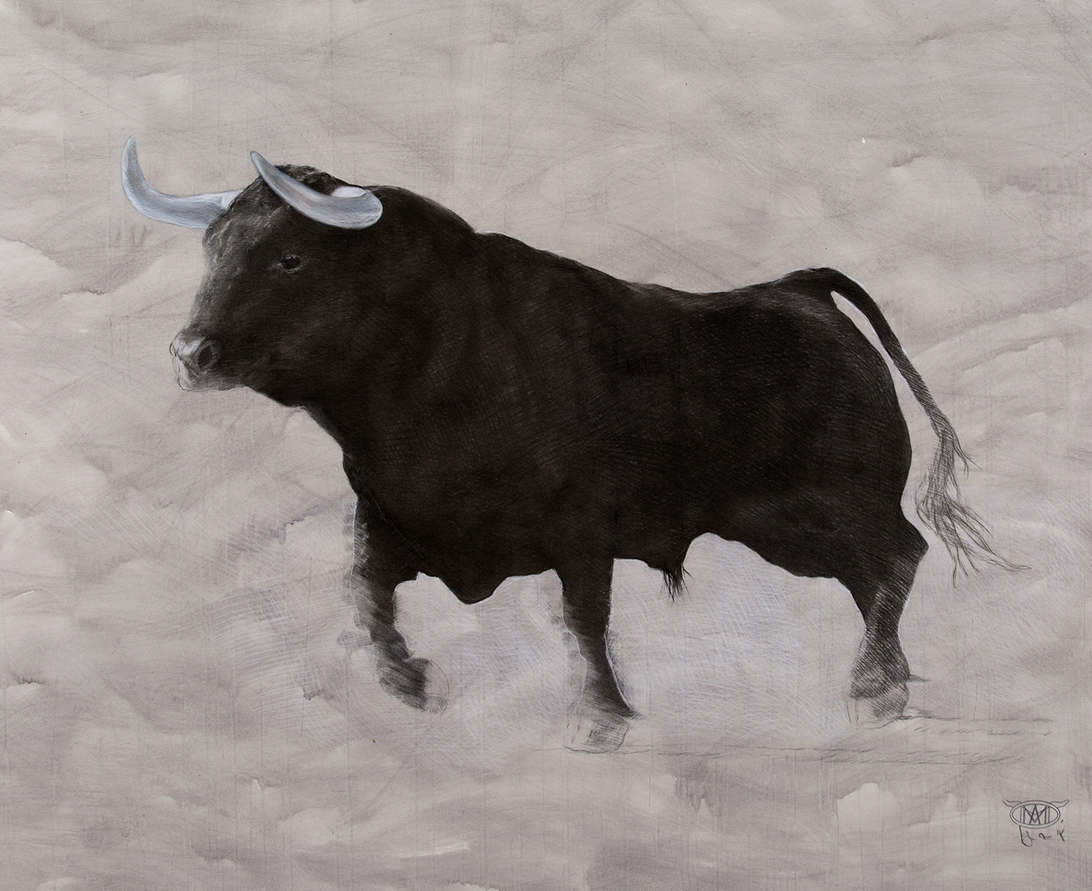 bull  2015 chalk and charcoal on acrylic washed paper  120x 140cm