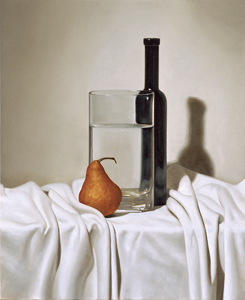 Bottle vase & pear