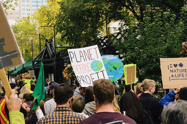 I'm so excited to see the increased attention and action that the climate change movement is getting internationally. Although Calgary's march was small in comparison to the others around the world, 250k in NYC and millions worldwide, I was still filled with hope to see that people are realizing the immediate action needed to repair and protect our planet.  While marching I saw bystanders giving the group the finger, yelling insults, and being generally unsupportive, and I can't help but become angry and genuinely perplexed that there are people so self-centred. This is an issue that impacts everyone around the world and literally affects the livelihoods of our future generations, I find it hard to understand how someone can actively express such distasteful opposition to something so literally beneficial to every human on this planet.