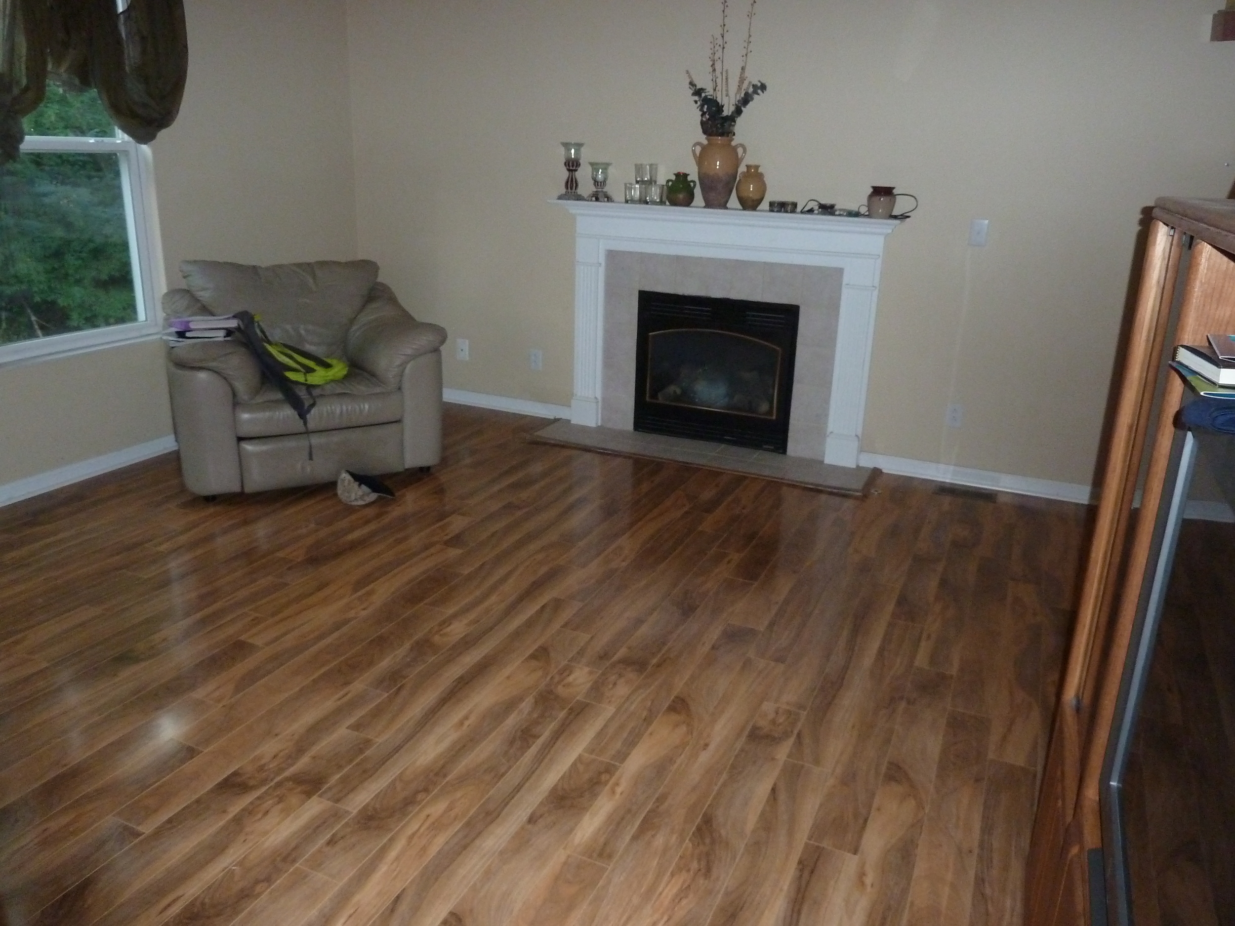 "Family room after installing a very nice 3/4"" thick laminate floor."