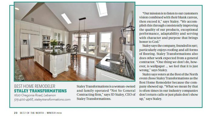 2019 Cincy Magazine Best of North Home Remodeler Article