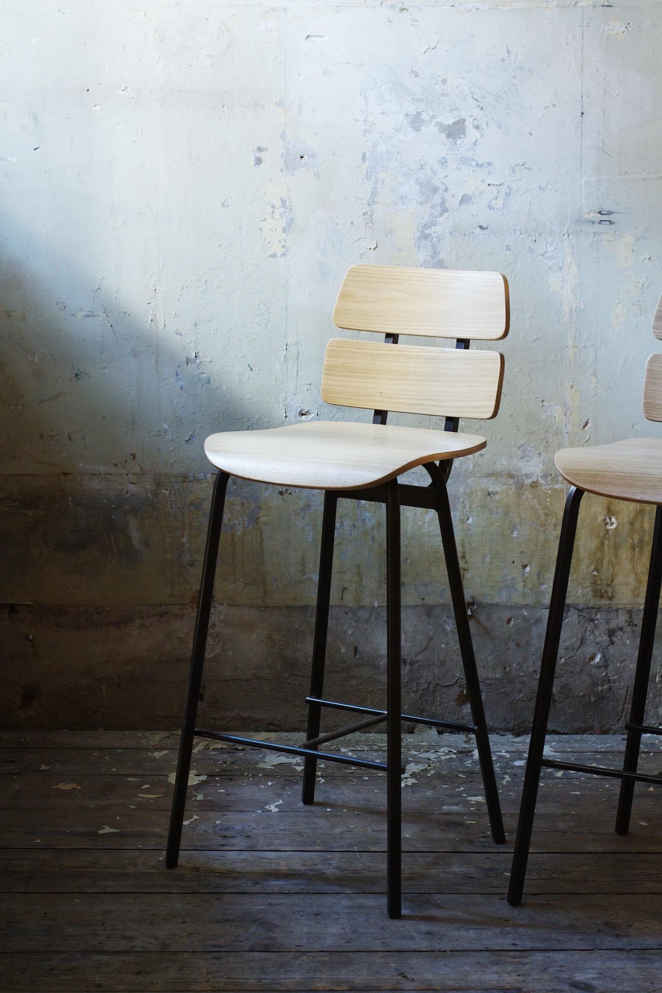 White Oak Bar Height Chair