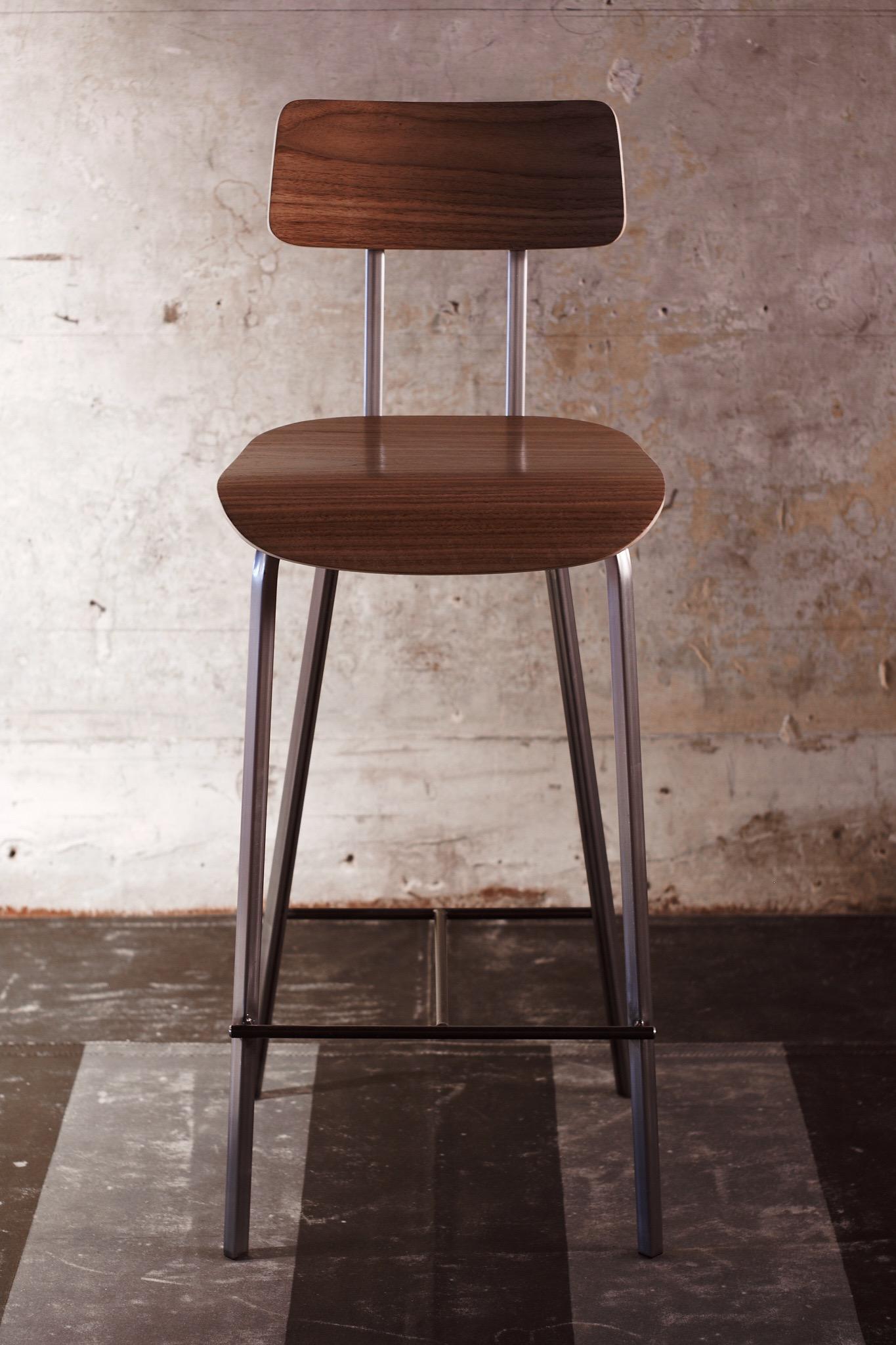 Walnut Bar Height Chair