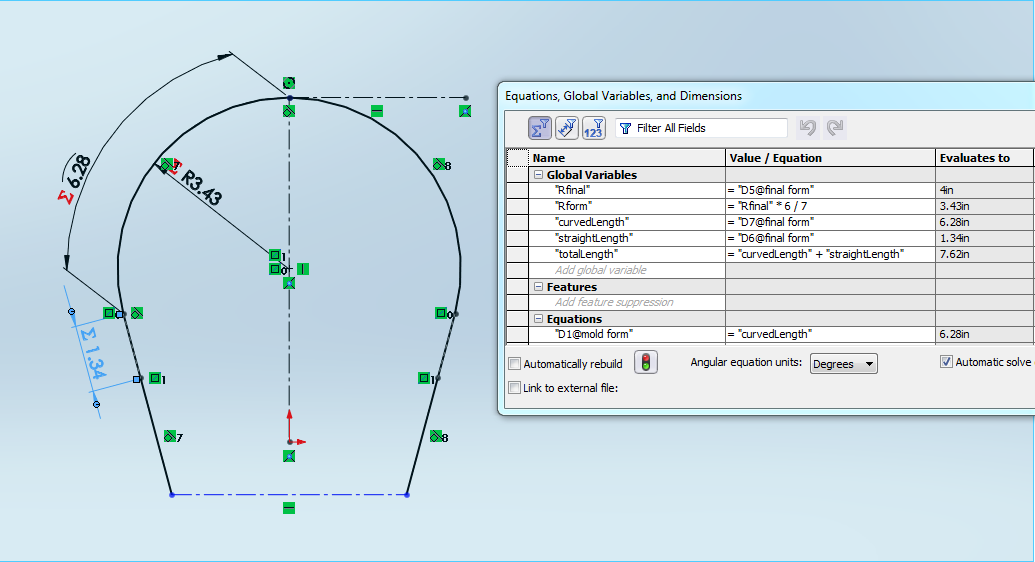 Auto CAD generation from initial parameters