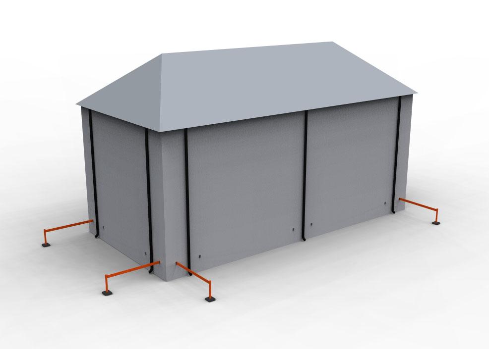 De långa bommarna kan även användas i kombination med Isidors stolpar för att spärra av vid takröjningsarbeten.