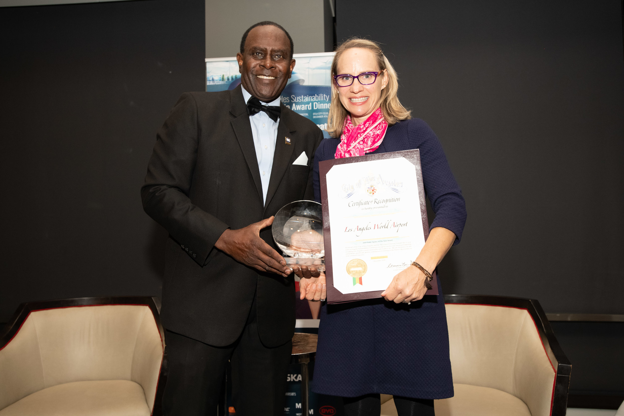 Pic 3Dr. Sherman Gay (LASC),Tamara McCrossen-Orr (Chief Planning Officer LA World Airports, 2018 Sustainability Public Agency of the Year Award)