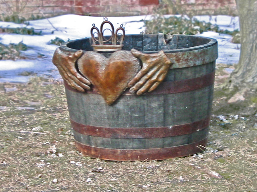 Cast Bronze, Whiskey Barrel Planter