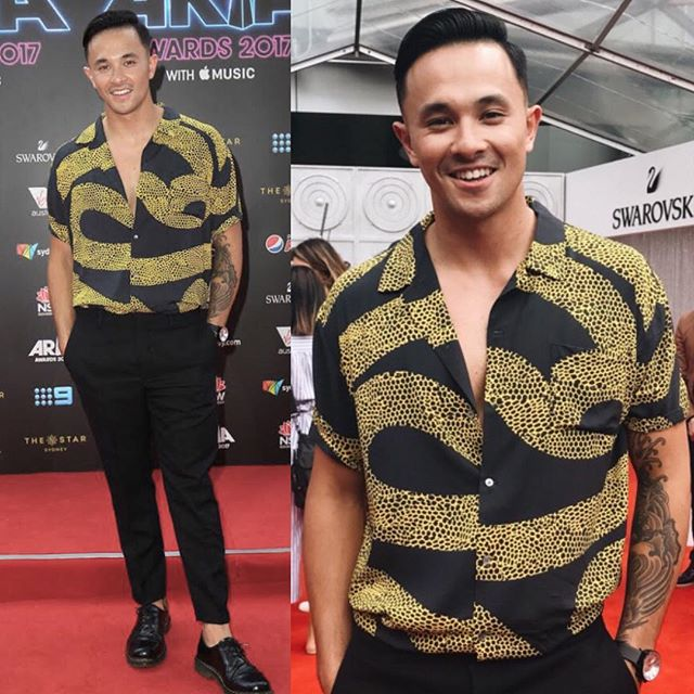 @cyrusvill on the carpet last night in @double_rainbouu 🌘🌗🌔 #cyrusvillanueva #arias