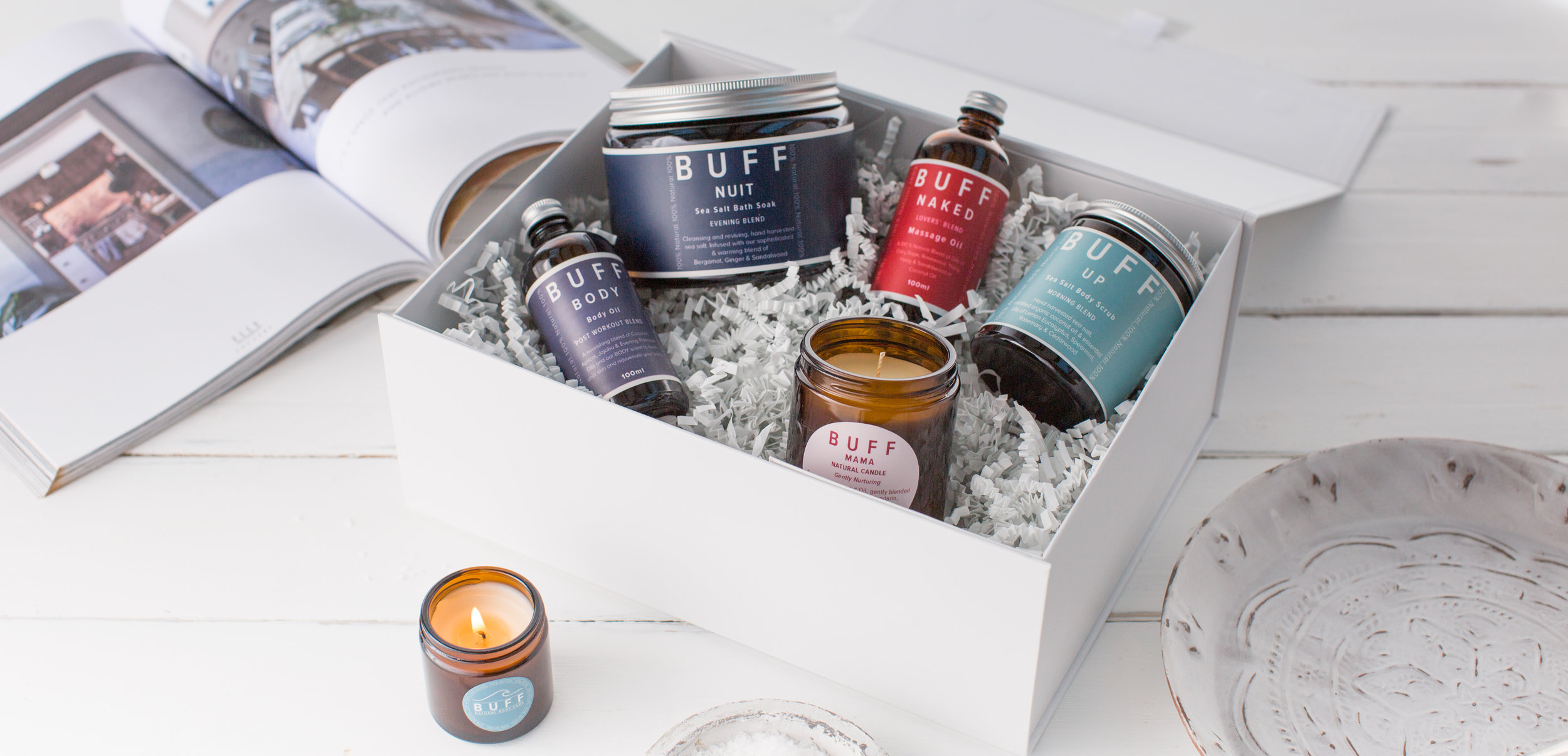 BUFF NATURAL BODY CARE 100 % Natural, Hand made in Ashburton, Luxury Body Treatments in 5 Sumptuous Scents taking you from Morning till Night..