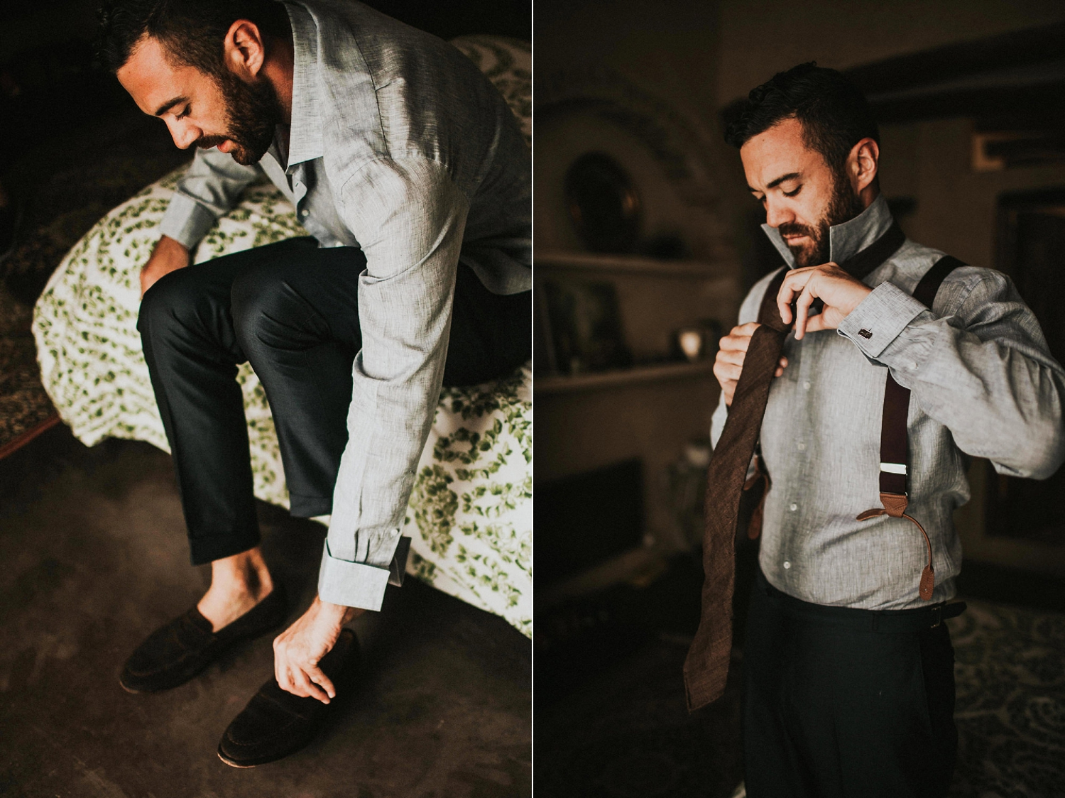 groom putting wedding shoes on