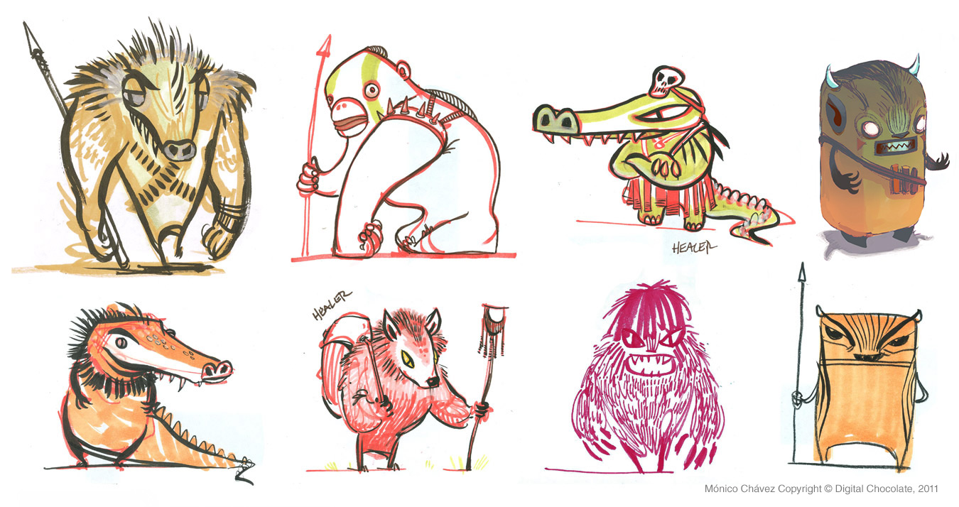 Social game concept characters.  Ink, colored pencil & marker