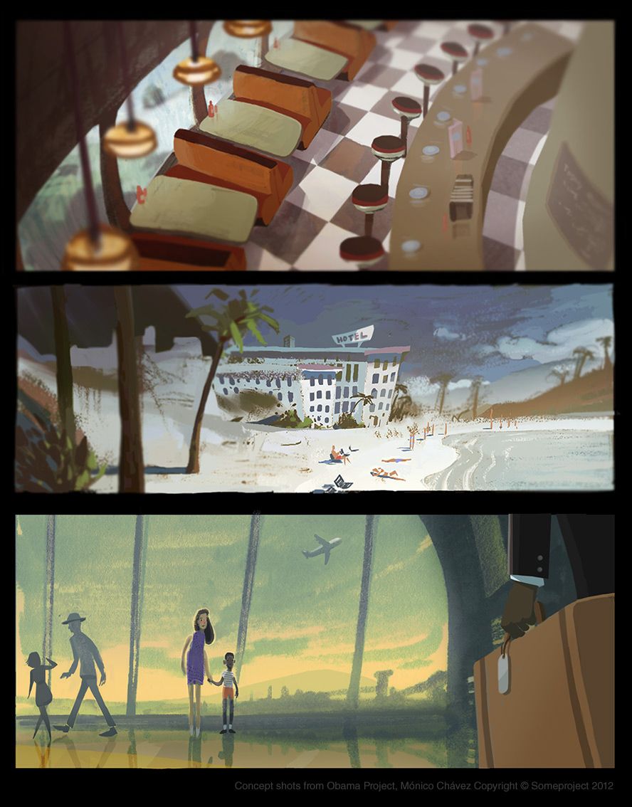 Short film key frames.  Digital & colored pencil