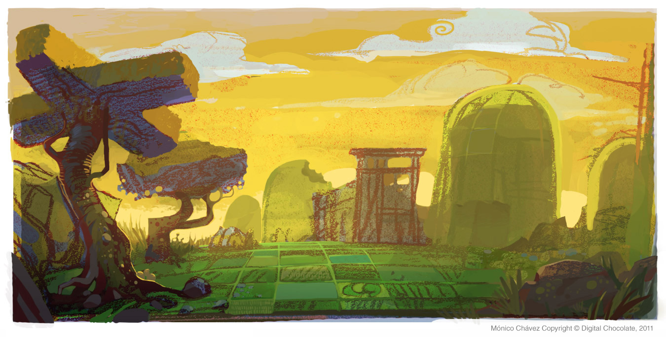 Game concept environment.  Digital & colored pencil