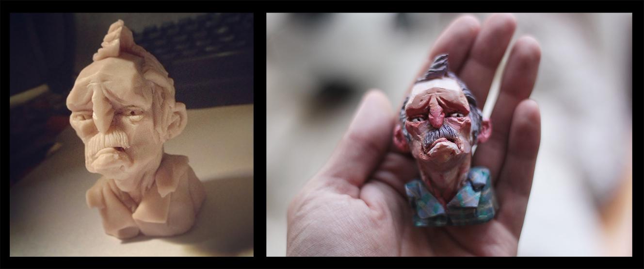 Old man mini head   Polymer clay , acrylic, polyurethane & gloss medium