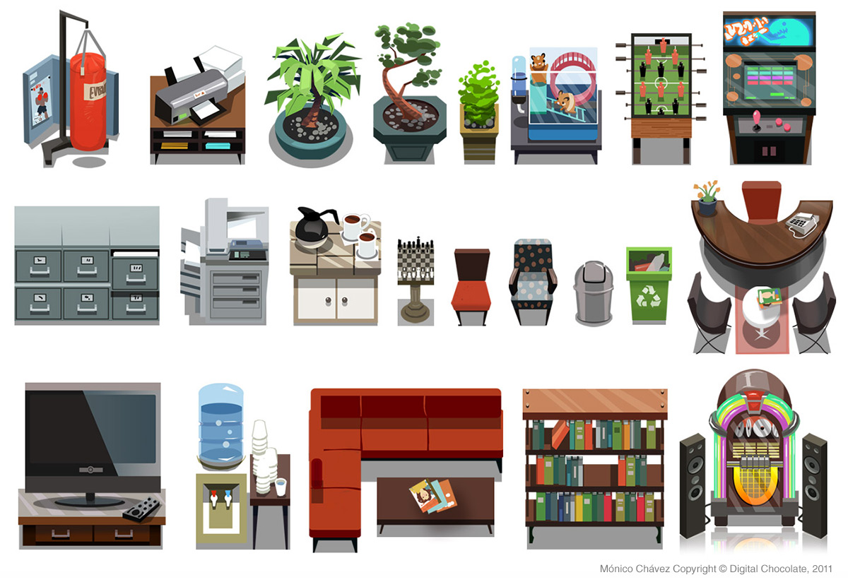Props and items for social game.  Digital