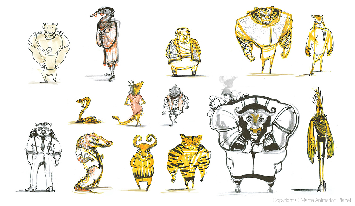 Feature animation background character design  Marker and brush pen