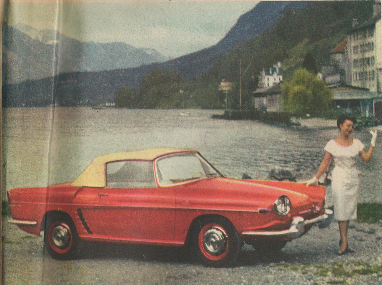 """Renaults nye sportvogn, præsenteret på forsiden af den franske bilavis """"L'auto-journal"""" fra 15. september 1958. Bilen, som længe kaldtes for """"Dauphine GT"""", omtales i artiklen som """"Floride"""". Læg mærke til, at fronten endnu ikke har fået sin endelige udformning."""