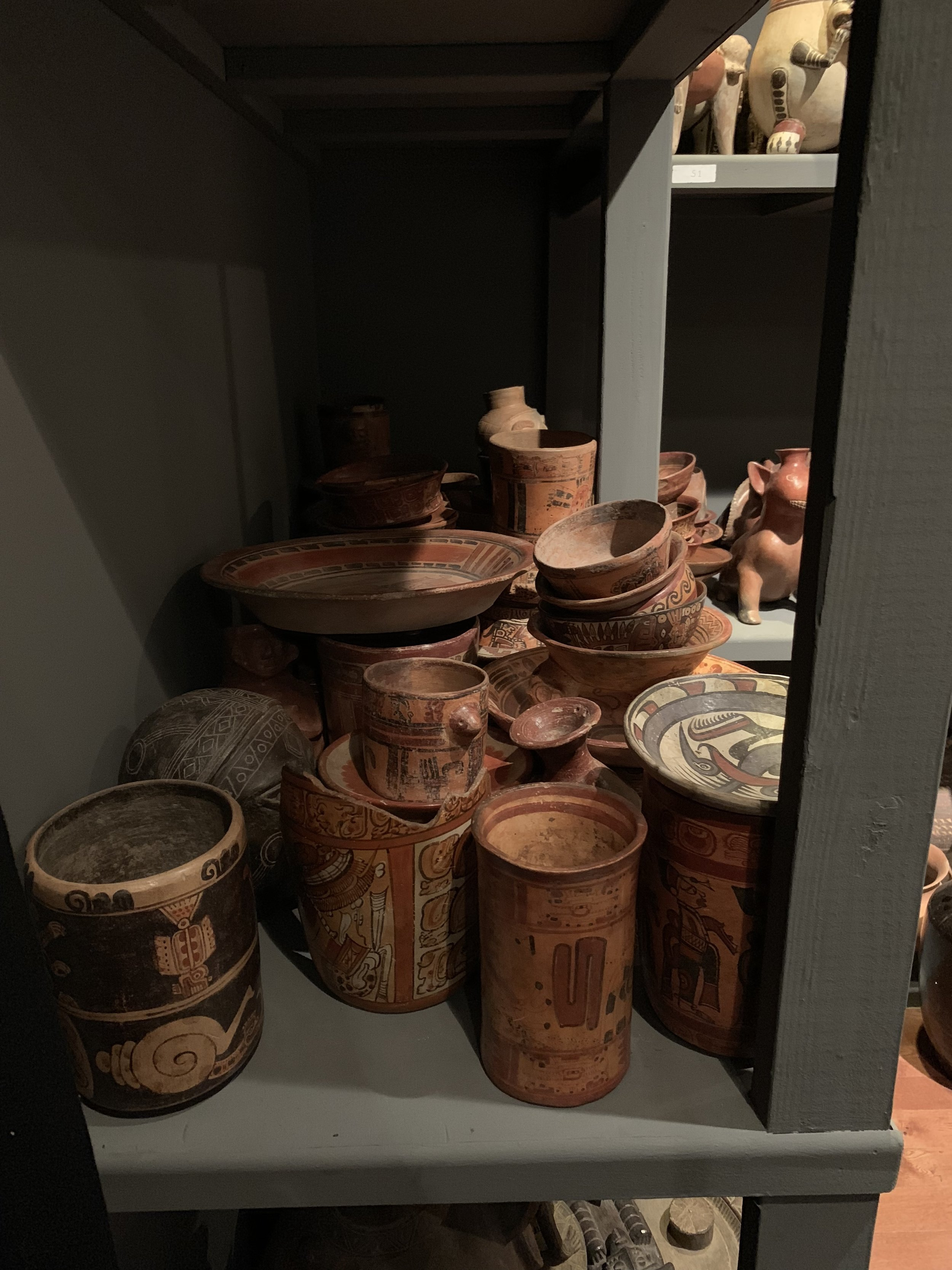 Some of the South American pottery in the back room.