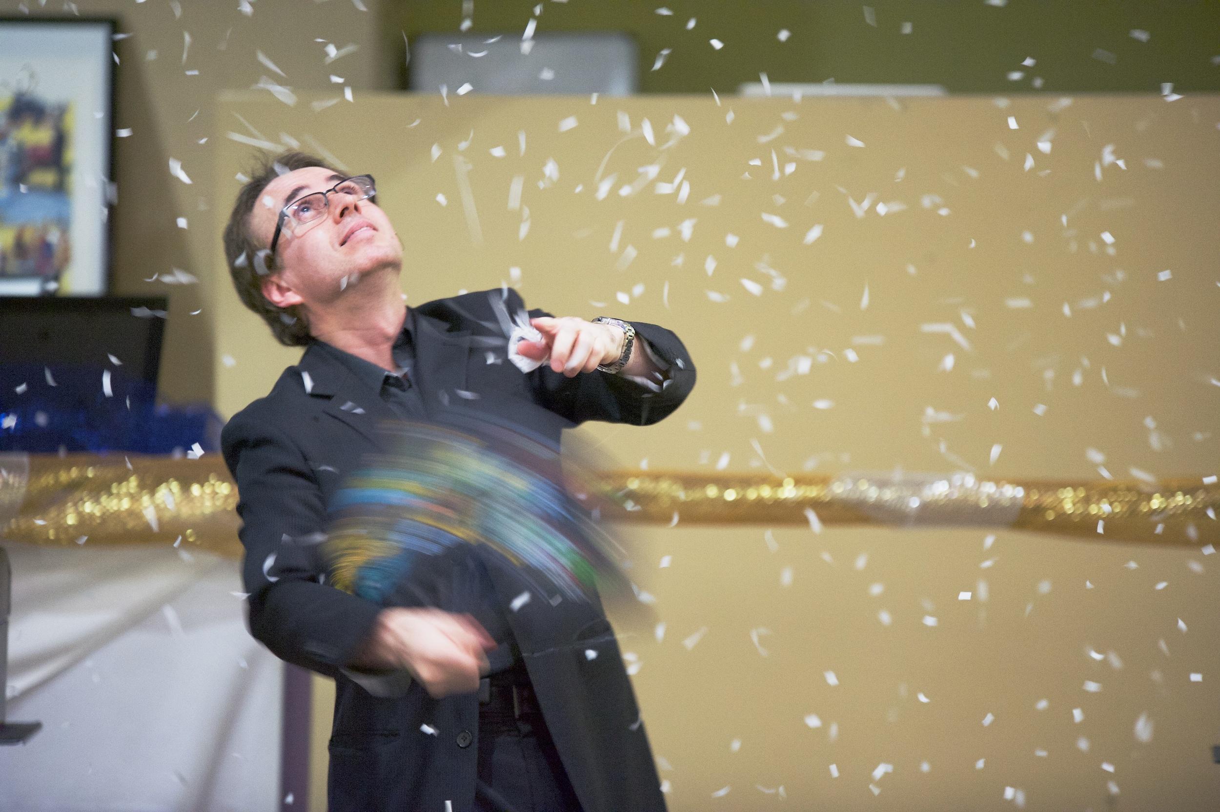 Los Aneles magician, Lou Serrano, with Snowstorm finale