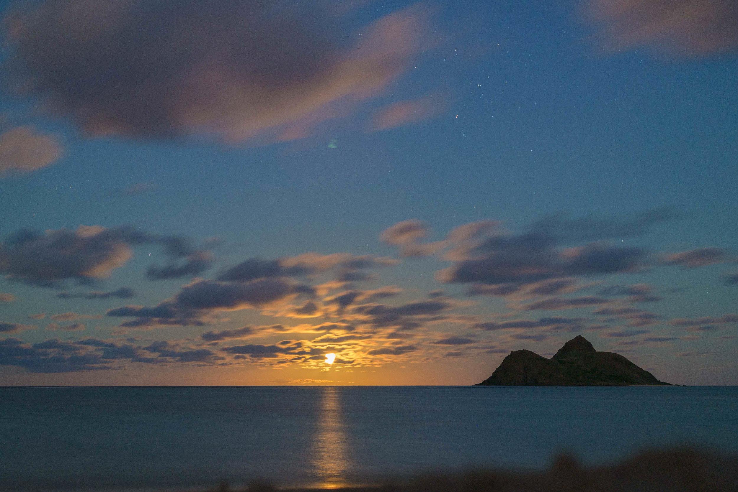 """""""The Moon Before the Hule"""" Lanikai Beach, Oahu 2014"""