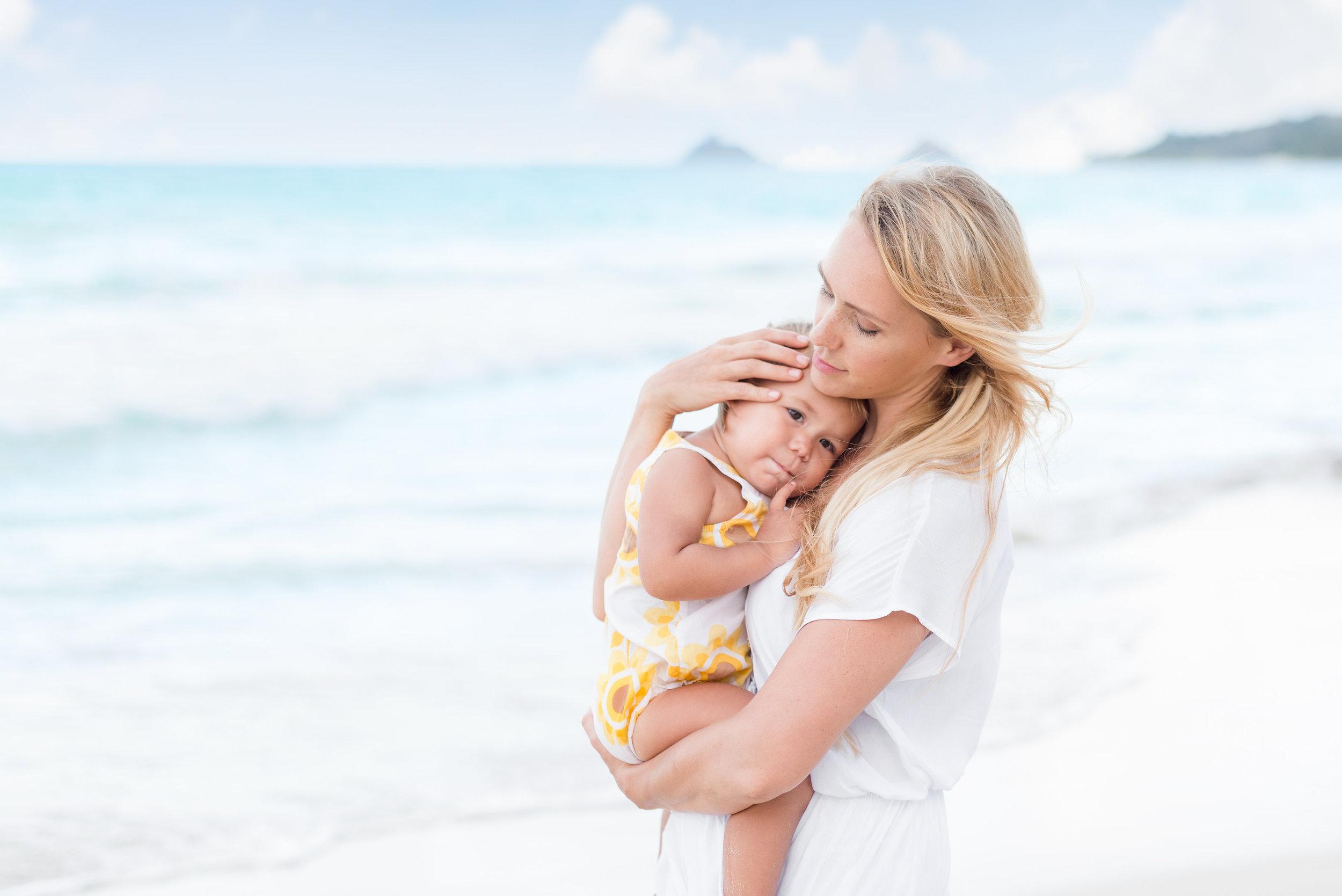 Oahu Family Photographers | Mom and Baby Kailua Beach Session